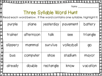 syllable examples list pdf