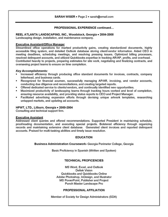 resume sample administrative assistant accomplishments