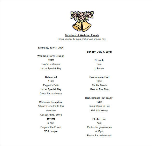 sample wedding schedule