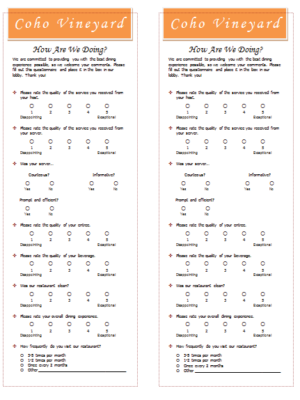restaurant survey form pdf
