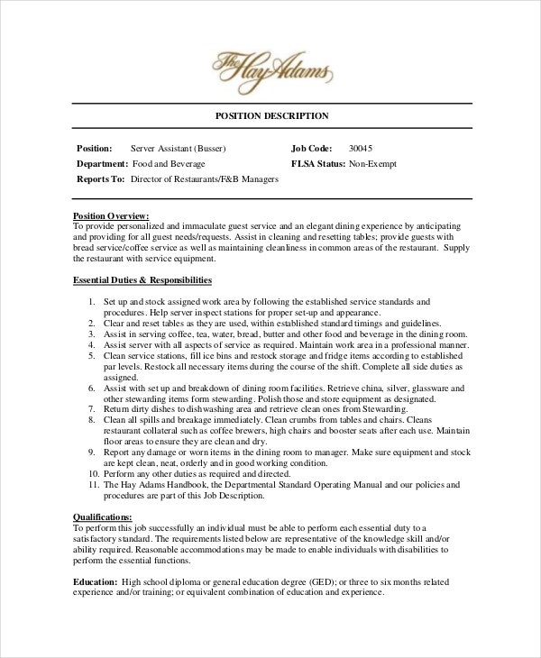 restaurant manager duties and responsibilities pdf