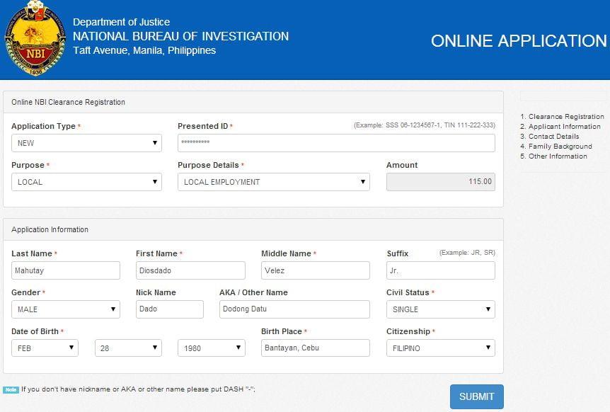 nbi philippines online application form