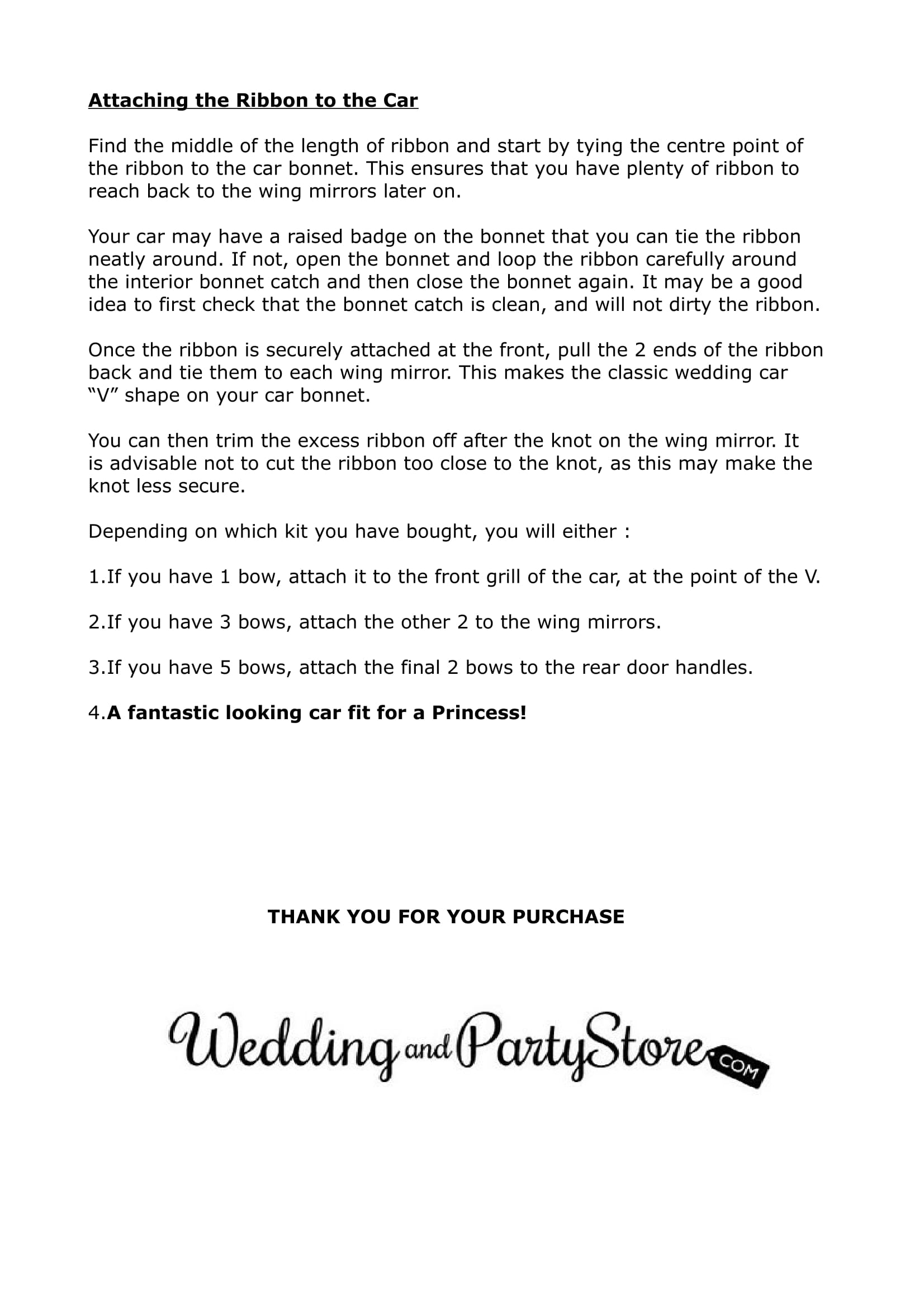 wedding car bows instructions