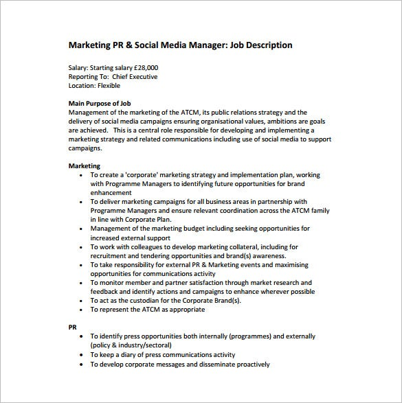 trade marketing manager job description sample