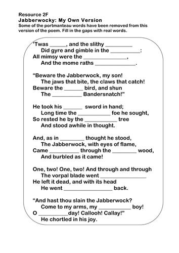 the jabberwocky poem pdf