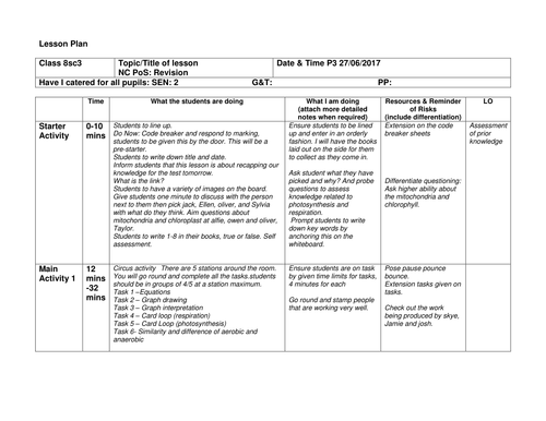 sample of lesson plan for teaching on proteins