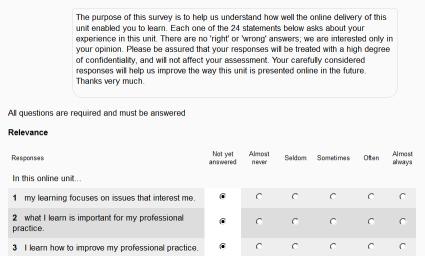 sample feedback survey course moodle