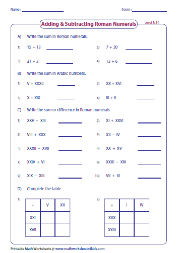roman numerals worksheet for grade 6 pdf