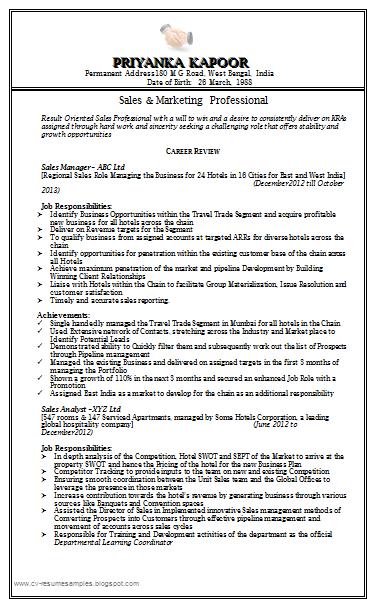 resume cv sample doc