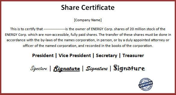 share certificate pdf