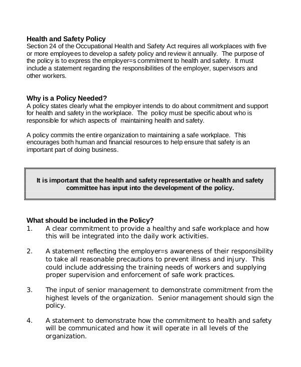 safety policy sample workplace