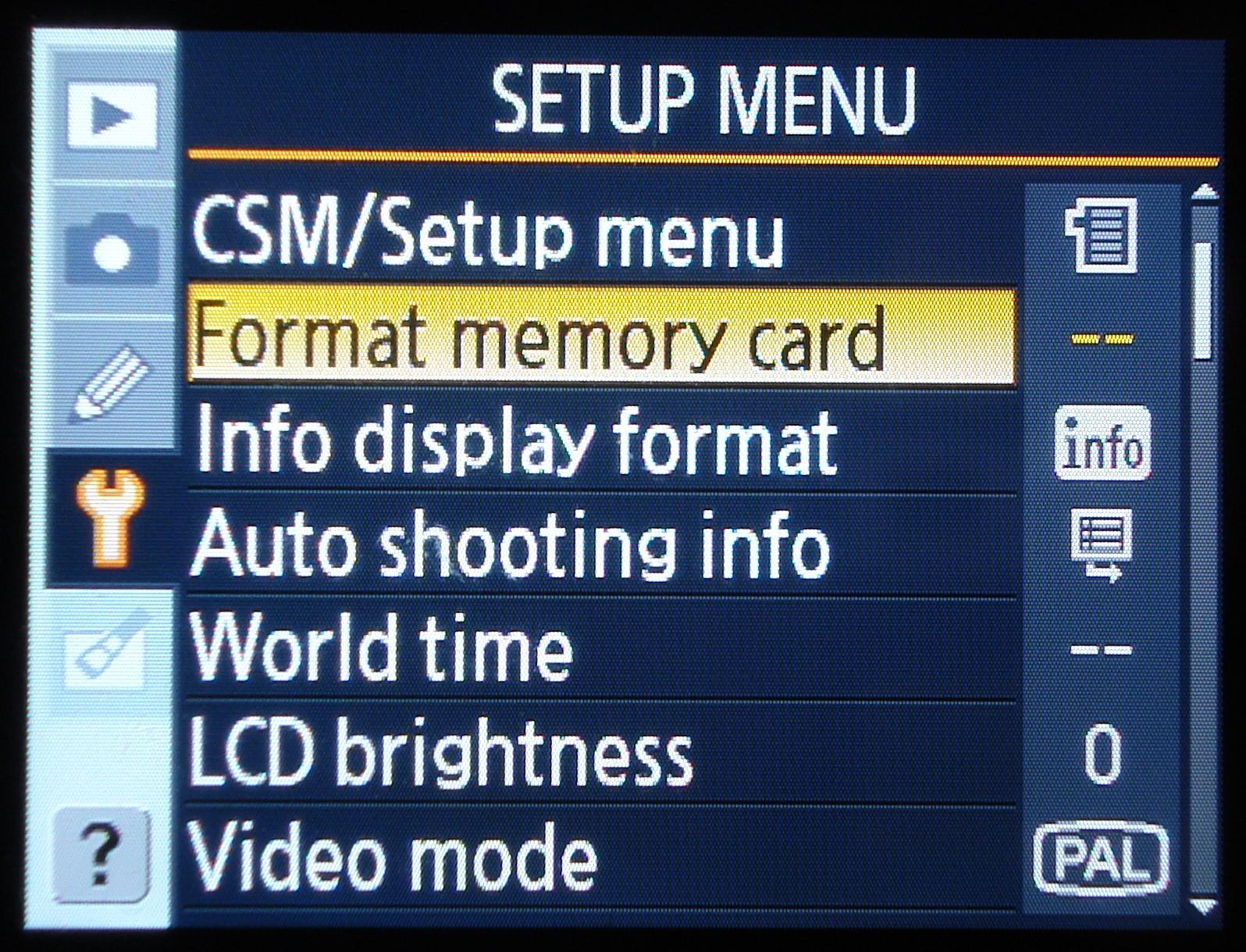 menu setting d 3400 manual mode