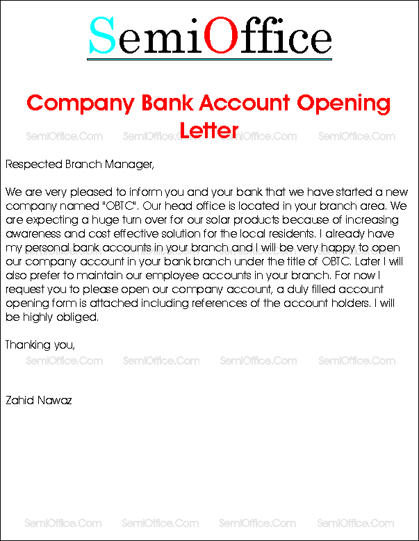 open bank account sample email