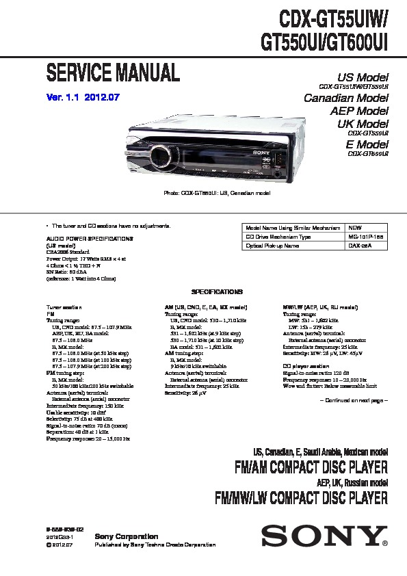sony cdx gt600ui manual
