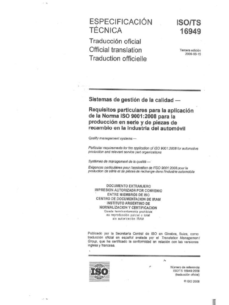 norma iso ts 16949 español 2009 pdf