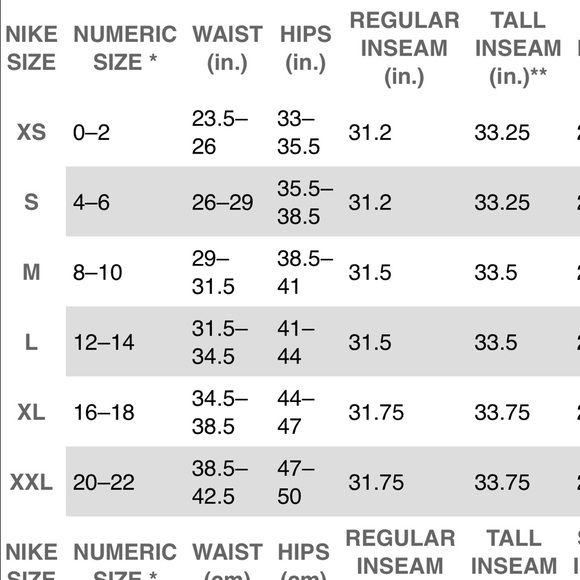 nike leggings size guide