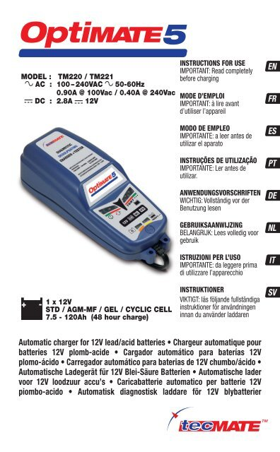 optimate battery charger instructions