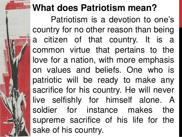 patriotism meaning in english dictionary