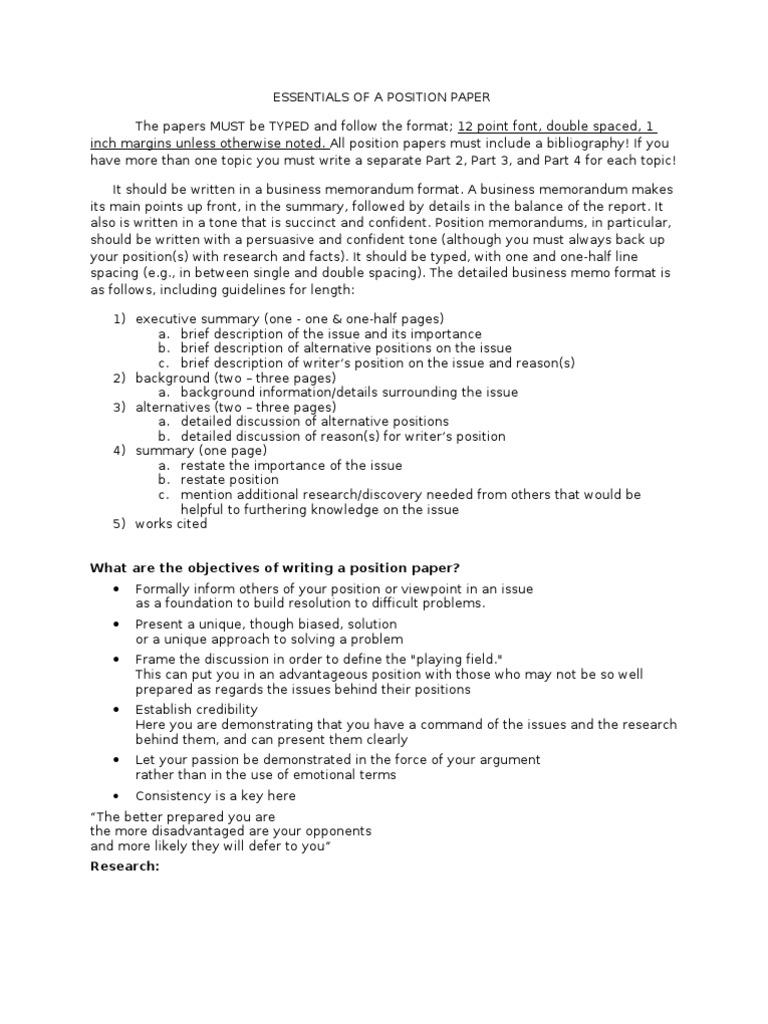 position paper sample pdf