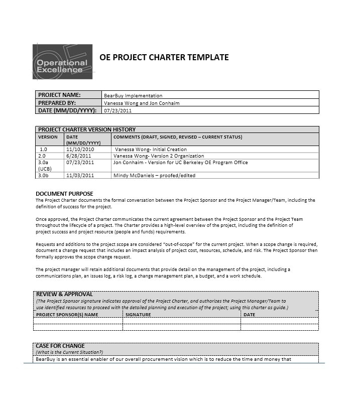project charter sample pmp