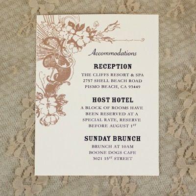 reception card sample