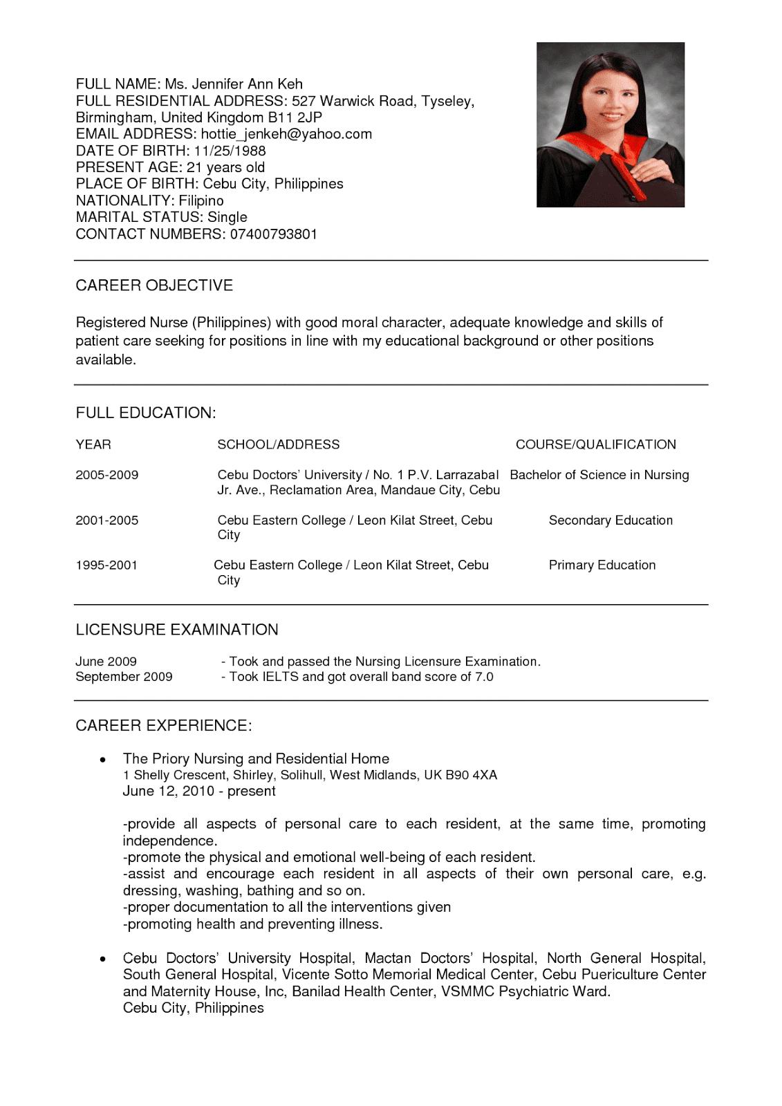 sample cv for nurses