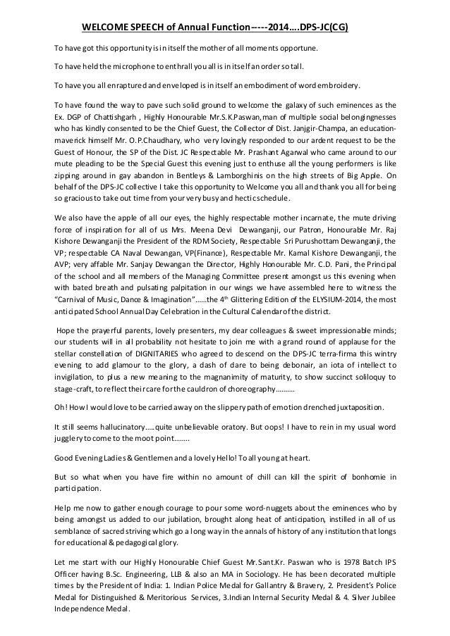 sample speech to honour principal