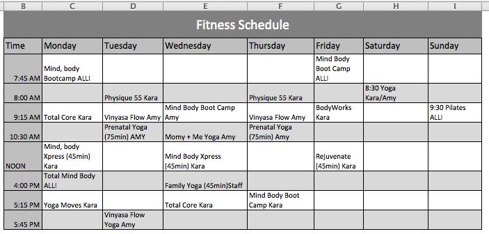 sample weekly workout plan