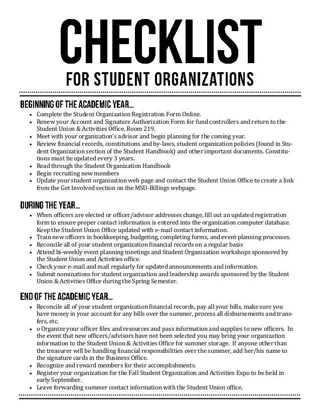 student organization officer application
