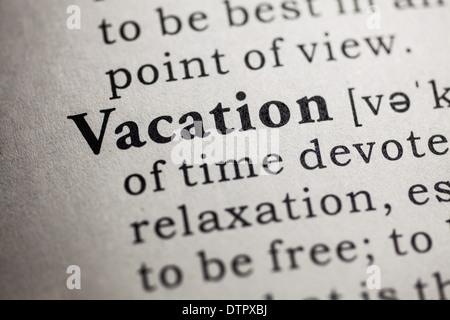vacation dictionary