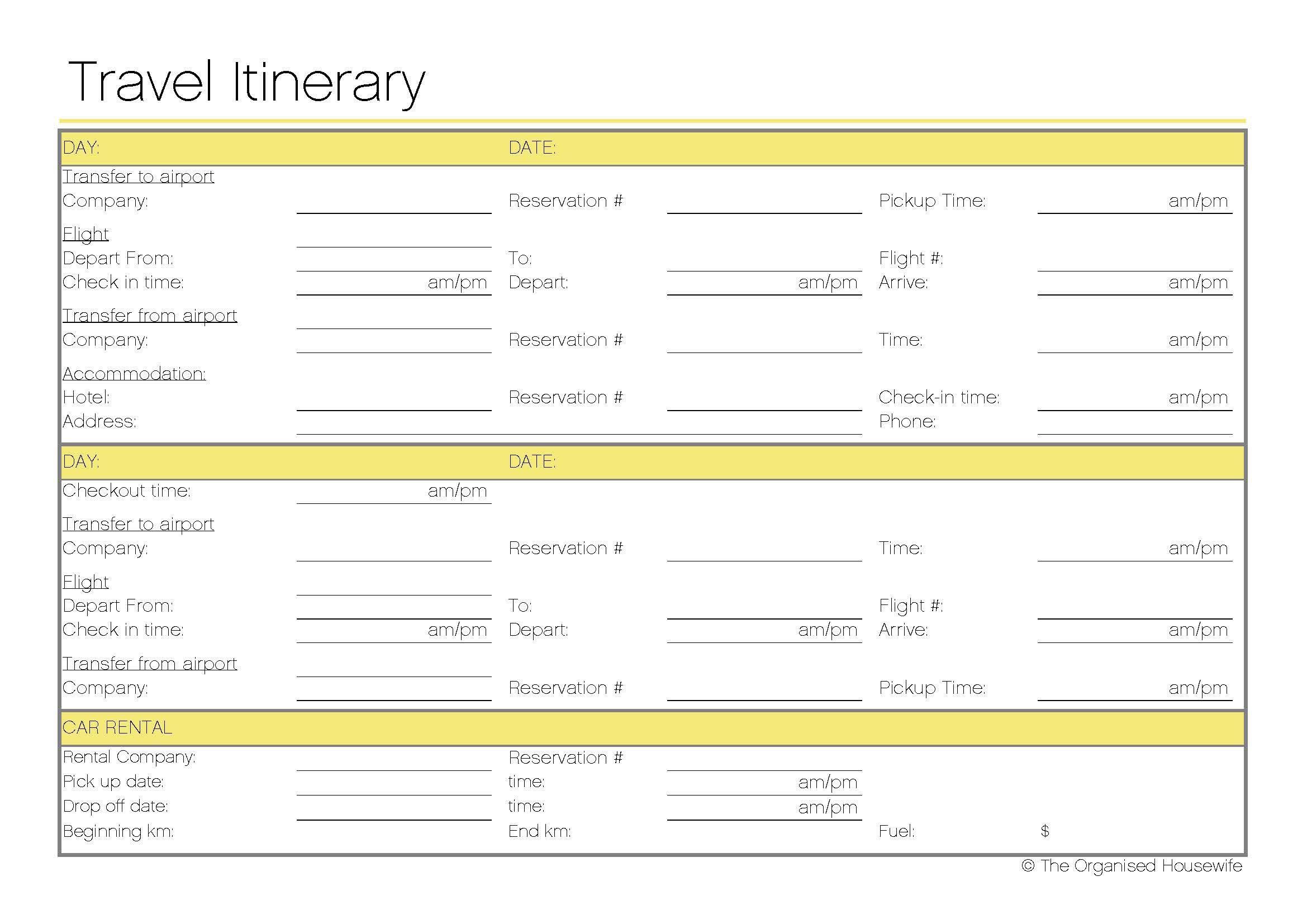 vacation itinerary pdf