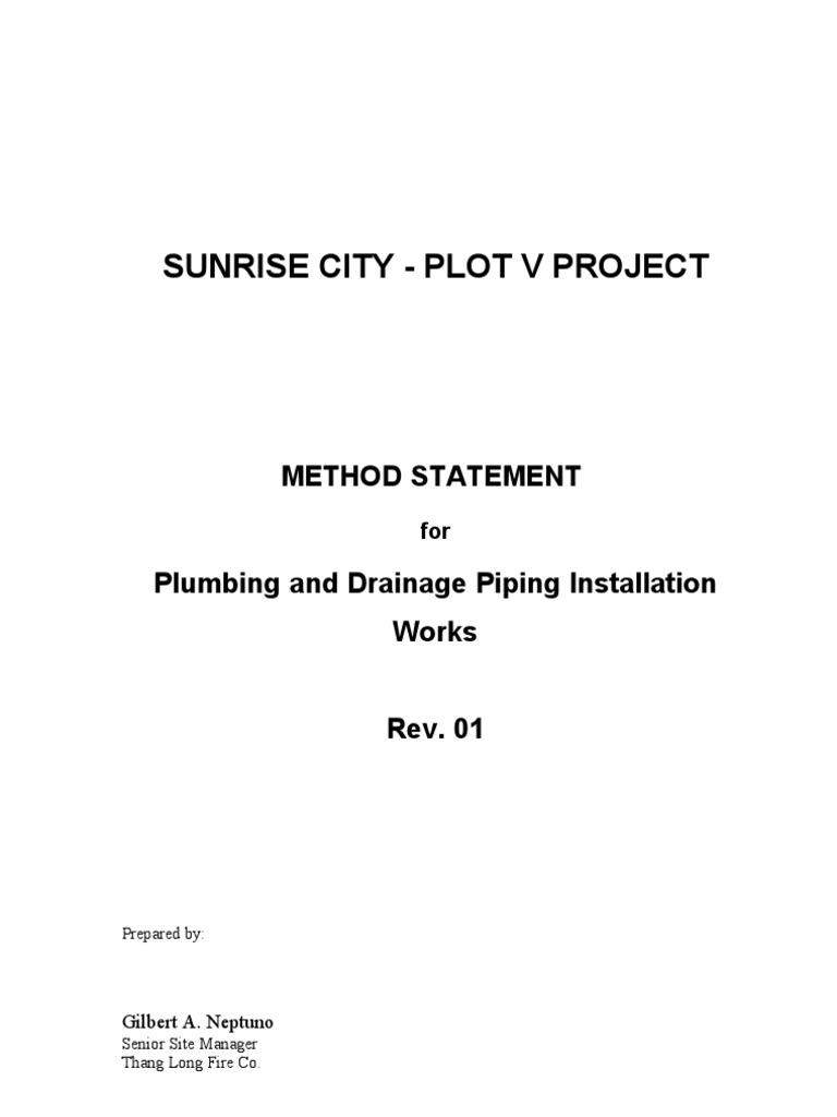 work method statement plumbing sample